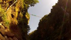 Young guy did bungee jumping Stock Footage