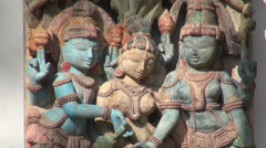 India Tamil Nadu carved gods with bracelets and necklaces Stock Footage