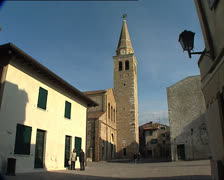GRADO Cathedral and belltower - stock footage