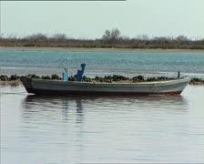 GRADO lagoon with rowing boat 2 Stock Footage