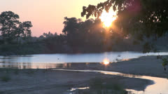 India Tamil Nadu Thanjavur tranquil river at sunset 1 Stock Footage