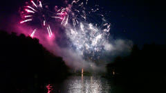 Fireworks over lake Stock Footage