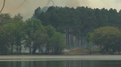Fire, Controlled burn on lakeshore Stock Footage