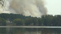 Fire, Smoke rises from controlled fire over Pine trees Stock Footage