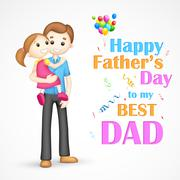 Father and daughter in  in Father's Day - stock illustration