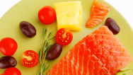 Stock Video Footage of salmon fillet with vegetables