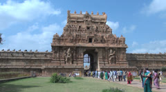 India Tamil Nadu Thanjavur Brihadeeswarar entrance lawn and gopuram 24 Stock Footage