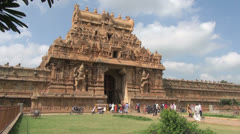 India Tamil Nadu Thanjavur Brihadeeswarar entrance and gopuram time lapse 20 Stock Footage