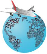 Stock Illustration of world airplane