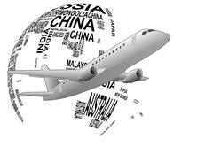 world airplane - stock illustration