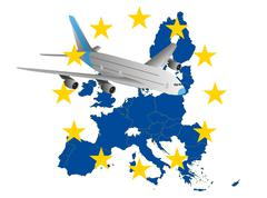 airplane europe - stock illustration