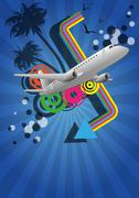 Airplane color graphic Stock Illustration