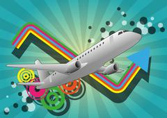 airplane color graphic - stock illustration