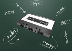 Stock Illustration of audio cassette chalkboard