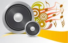 loudspeaker with ornaments - stock illustration