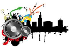 loudspeaker skyline - stock illustration