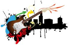 Stock Illustration of electric guitar skyline