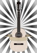 Guitar and banner Stock Illustration
