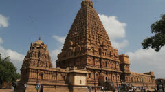 India Tamil Nadu Thanjavur Brihadeeswarar gopuram and birds 3 Stock Footage