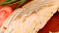 Stock Video Footage of savory sea fish entree : roasted salmon fillet with green onion
