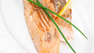 Stock Video Footage of fish entree : roasted salmon fillet