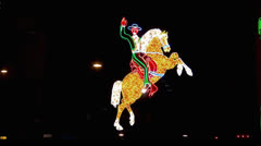 "Illuminated sign "" Cowboy riding a horse"", Fremont Street, Las Vegas - stock footage"