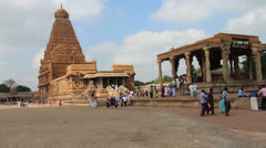 India Tamil Nadu Thanjavur Brihadeeswarar gopuram tower and open air temple 16 Stock Footage