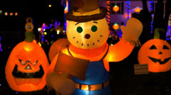 Halloween lighted Scarecrow Stock Footage