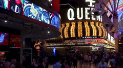 Crowd tourists at Fremont Street Experience (FSE). Stock Footage