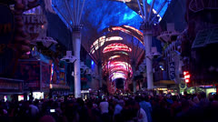 Crowd tourists & Viva Vision Show at Fremont Street Experience (FSE). Stock Footage