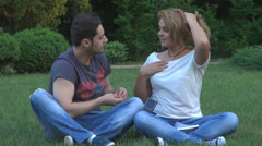 Young couple in love, Surprise, Gift - stock footage