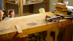 Luthier working, workplace Stock Footage