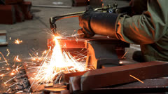 Industrial worker cutting steel. Stock Footage