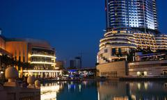 Night view of hotel the address in the dubai mall Stock Photos