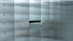 Artist rendering bank safe deposit box. Stock Footage
