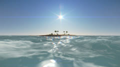 Small desert island with palm trees - stock footage