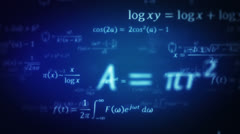 Mathematical formulas. Loopable. Dolly in. Blue. Stock Footage
