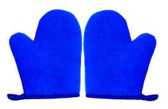 oven glove mitt blue color and isolated on white background - stock photo