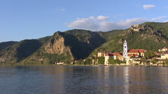 DURNSTEIN skyline village at River Danube Stock Footage