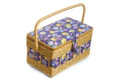 Wicker basket casket isolated on white background Stock Photos