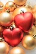 Red heart shaped christmas ornaments Stock Photos