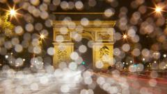 4K UHD Arch of Triumph rain at night Paris France Traffic time lapse motion blur Stock Footage