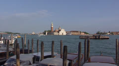 Venetian lagoon with San Giorgio Maggiore, view from the main island Stock Footage
