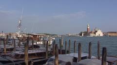 Venetian lagoon isle of San Giorgio Maggiore view from the main island Stock Footage