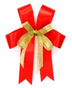 Bright red bow over white background Stock Photos