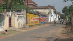 India Chettinad area bicycle on street  editorial s2 Stock Footage
