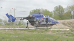1080p Stock Footage - Life FLight Helicopter prepping for take off - Audio Stock Footage