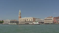 VENICE, ITALY Palazzo Ducale viewed from Venetian lagoon - vehicle shot Stock Footage