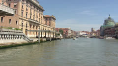 VENICE, ITALY Ferrovia (railway station) exterior viewed from Canal Grande Stock Footage