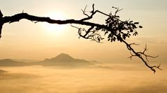 morning over mountain in northeast of thailand - stock photo